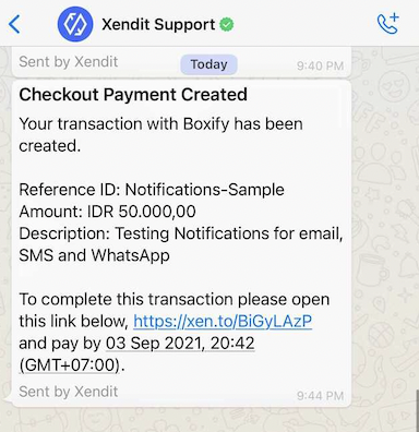 WhatsApp message will be sent by Xendit Support in Live Mode