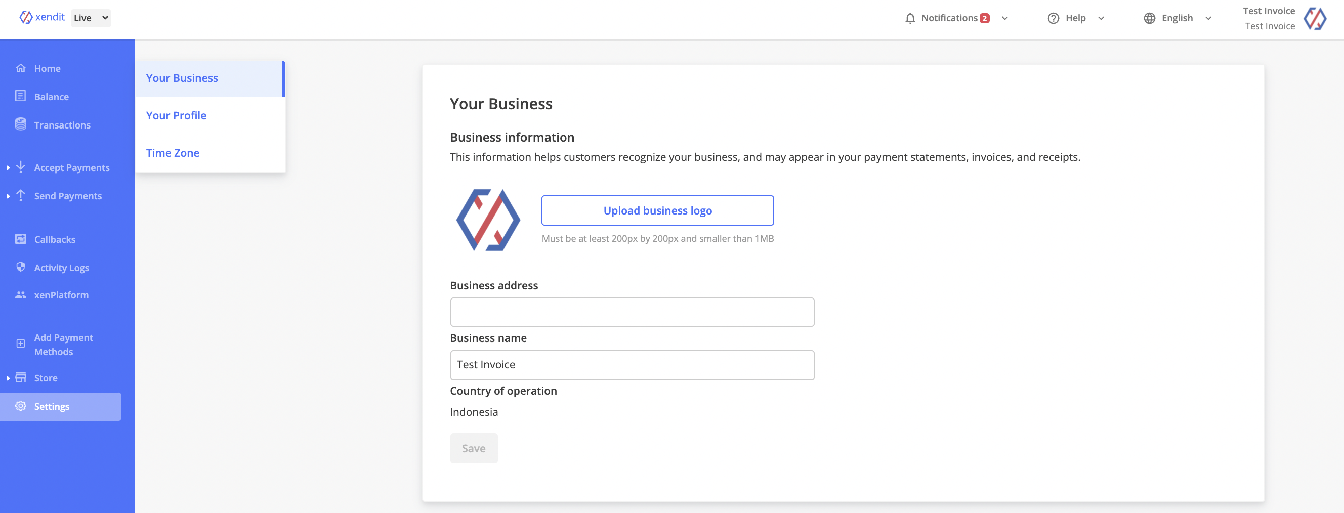 Your Business Setting Page